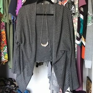 Sweaters - Gray Kimono Sweater With necklace